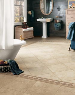 bathroom with custom tile flooring